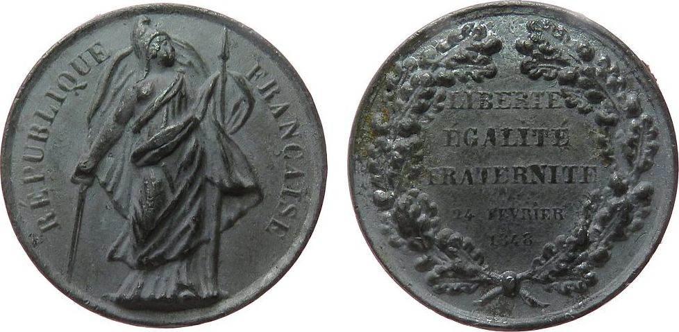 Medaille 1848 Frankreich Zinn Louis Philippe I - auf die Februarrevolution in Paris, Frauengestalt mit phrygischer Mütze / Mehrzeiler, ca. 38 MM, spätere ss
