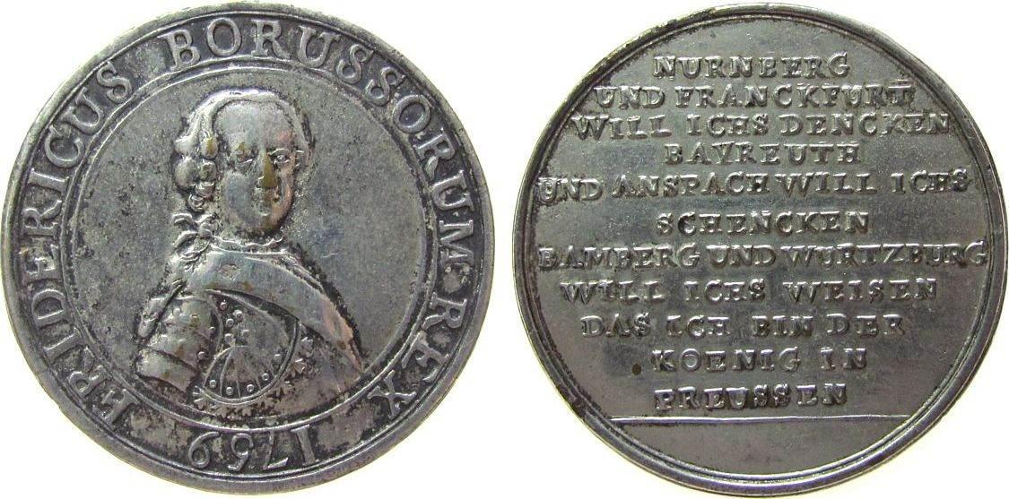 Medaille 1759 vor 1914 Bronze versilbert Friedrich Wilhelm II (Preussen 1786-1797) - Satirische Medaille auf die fränkischen Städte, geharnischtes Brus ss