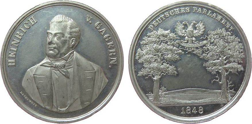 Medaille 1848 Frankfurt Zinn Gagern Heinrich von, Frankfurt, Präsident der Nationalversammlung, Brustbild halb links / ungekrönter Wappenadler zwischen vz