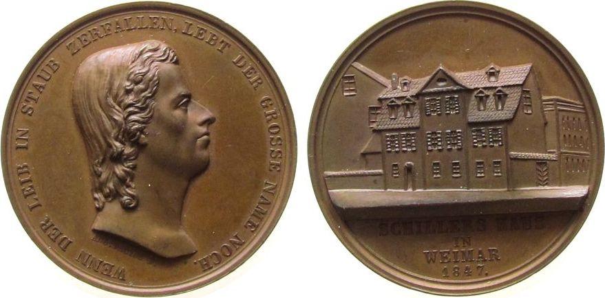 Medaille 1847 Personen Bronze Schiller Friedrich von (1759-1805), Dichter, Philosoph und Historiker, Mannheim, auf das Schiller Haus in Weimar, Büste n vz-stgl
