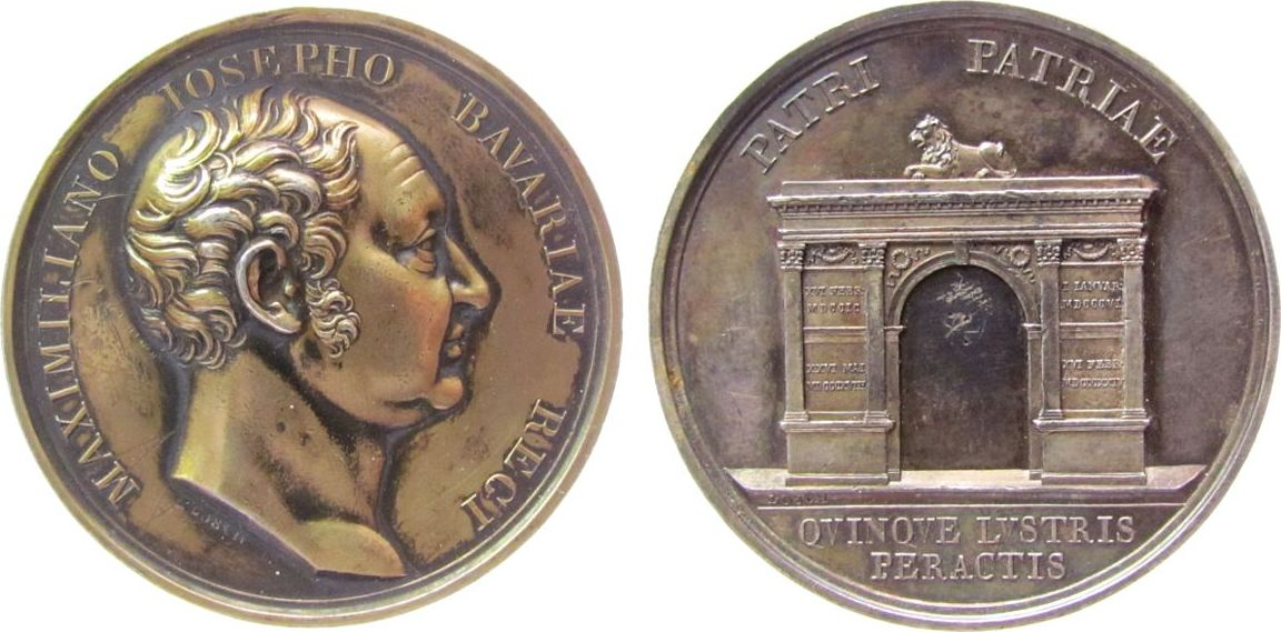 Medaille 1824 vor 1914 Silber Maximilian IV. (I.) Joseph (1799-1825) - auf sein 25-jähriges Regierungsjubiläum, Büste nach rechts / Triumphbogen mit Re vz
