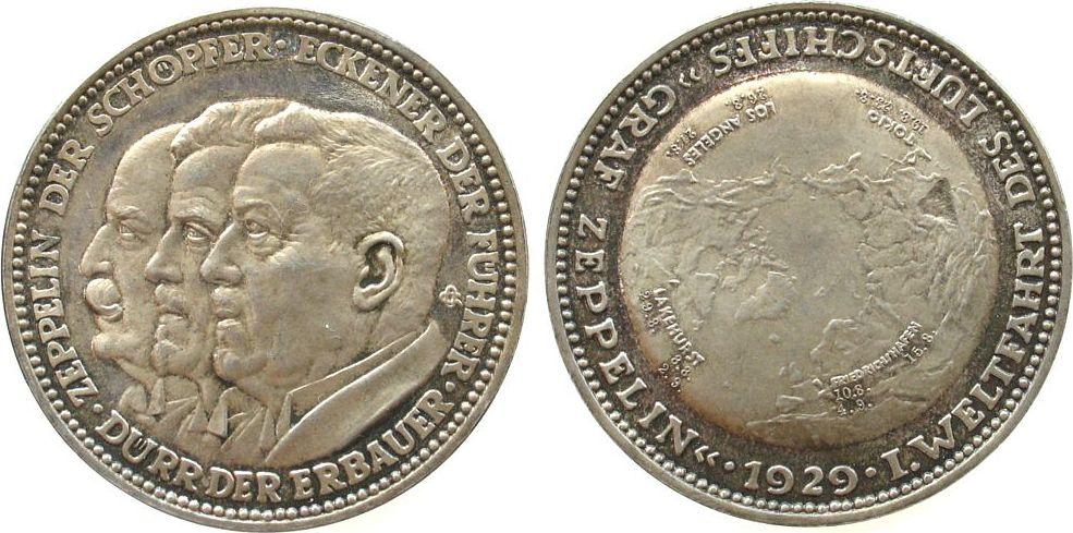 Medaille 1929 Luftfahrt Silber Zeppelin, auf die erste Weltfahrt des Luftschiffes