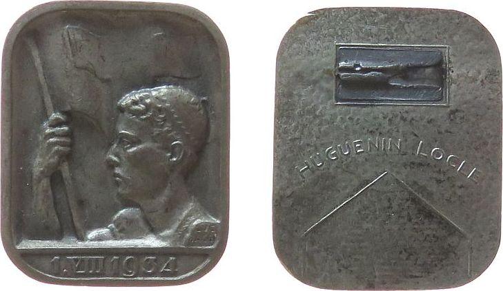 Abzeichen 1934 Schweiz Weissmetall (?) 1. VIII 1934, Büste vor Fahne, abgebrochene Nadel, v. Luc Jaggi, ca. 23,5 x 29 MM ss-vz