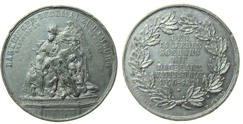 Medaille 1877 Hamburg Zinn Hamburg - auf die Enthüllung des Kriegerdenkmals, Denkmal / Mehrzeiler, v. Bergmann, ca. 38 MM, kleine Randfehler, feine K ss