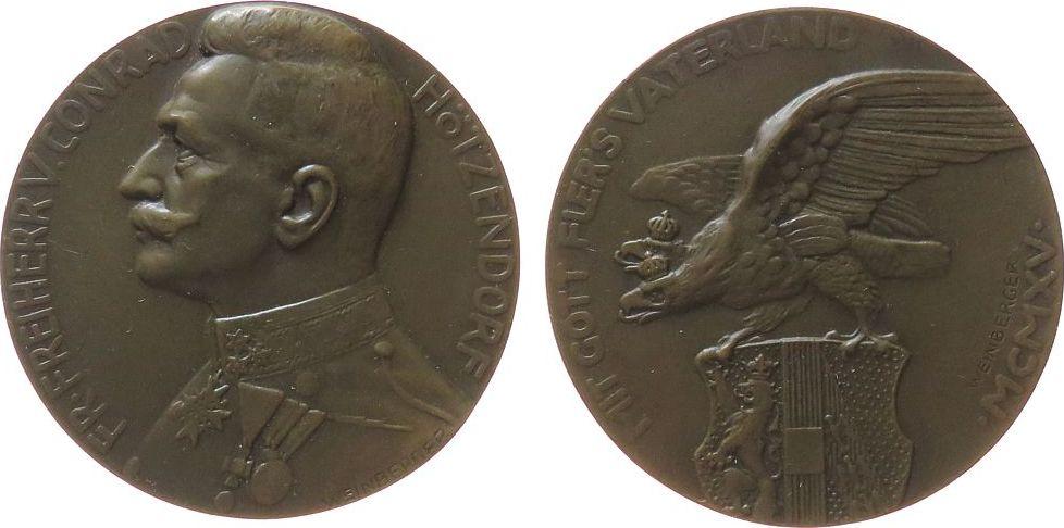 Medaille 1915 Franz Josef I (1848-1916) Bronze Hötzendorf Conrad Freiherr von (1852-1925), Chef des Generalstabes, Brustbild in Uniform nach links / gekrönter Doppelkop vz+