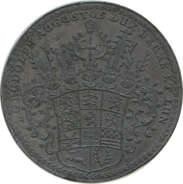 Abschlag eines Lösers 1685 vor 1914 Blei Rudolph August Herzog zu Braunschweig-Lüneburg-Wolfenbüttel (1666 - 1685), einseitig, 79 MM vz