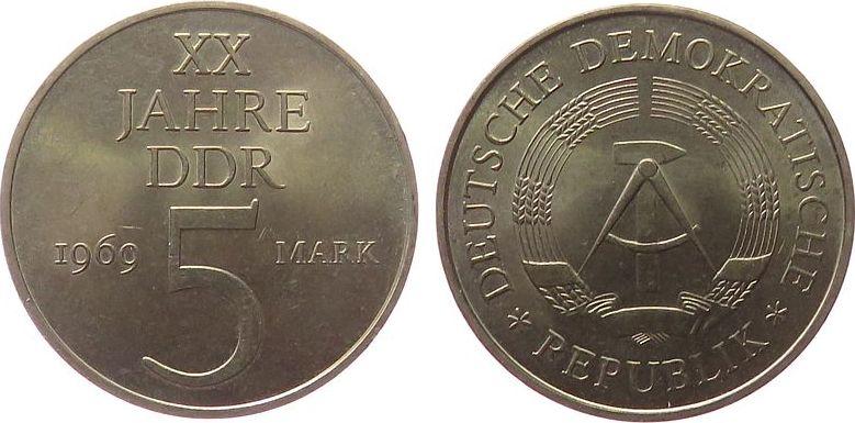 5 Mark 1969 DDR Ni-Br 20 Jahre DDR vz-unc
