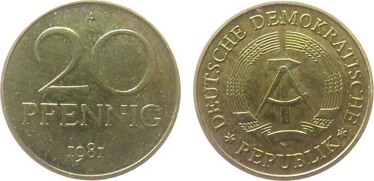 20 Pfennig 1981 DDR Messing A, Berlin, Export, etwas fleckig vz-stgl
