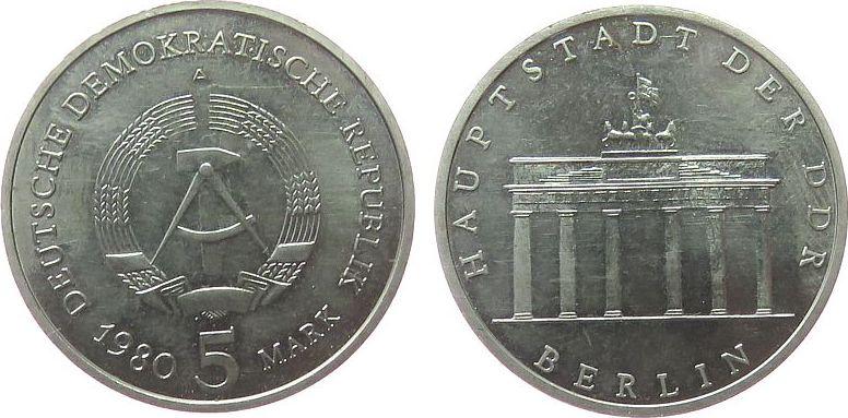 5 Mark 1980 DDR NS Brandenburger Tor, etwas fleckig vz-stgl
