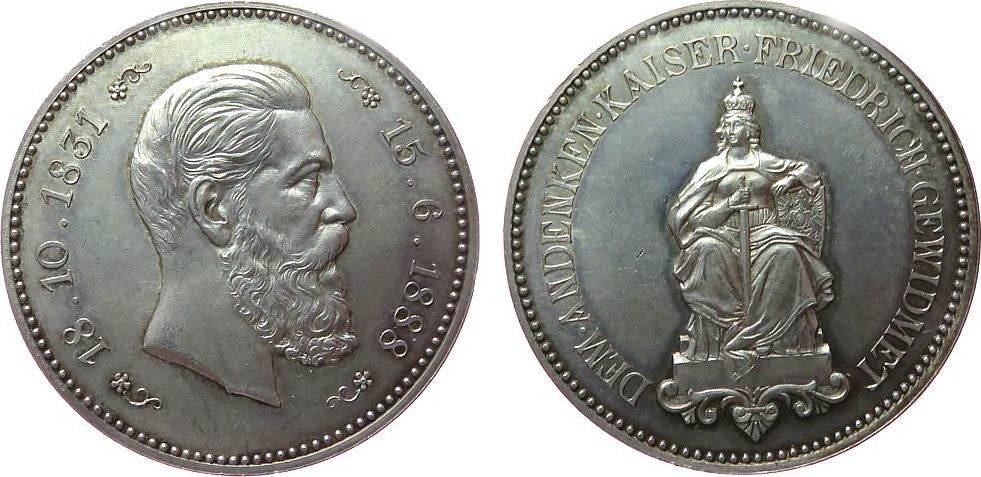 Medaille 1888 Friedrich III (1831-1888) Silber Friedrich III (1831-1888) - auf seinen Tod, Büste nach rechts / sitzende Germania mit Schwert, unsigniert, ca. 40,5 MM, c vz