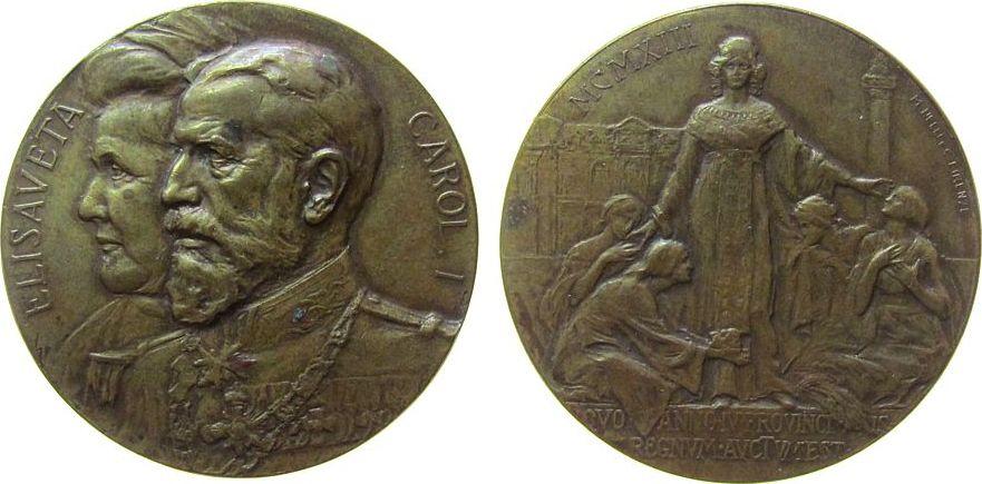 Medaille 1913 Rumänien Bronze Karl I (1866-1914) - auf die Abtretung der bulgarischen Gebiete, im Frieden von Bukarest, die Brustbilder von Elisabeth u ss+