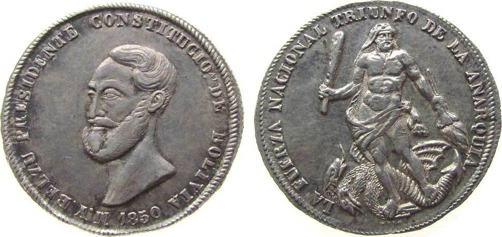 Medaille zu 4 Soles 1850 Bolivien Silber auf die Unterdrückung des Aufstandes durch den Präsidenten Belzu, Kopf nach links / auf der Hydra stehende Herkules mit K vz