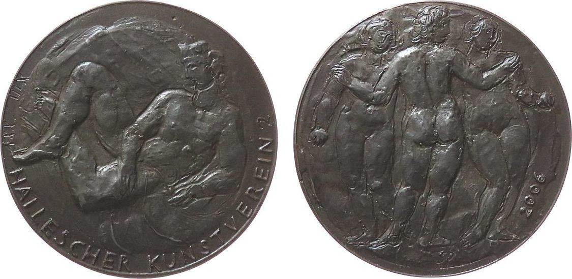 Medaille 2006 Gelegenheitsmedaillen Eisen Hallescher Kunstverein 2, liegender, nackter Mann / drei nackte Frauen, Signatur: SP, ca. 88 MM gußfrisch