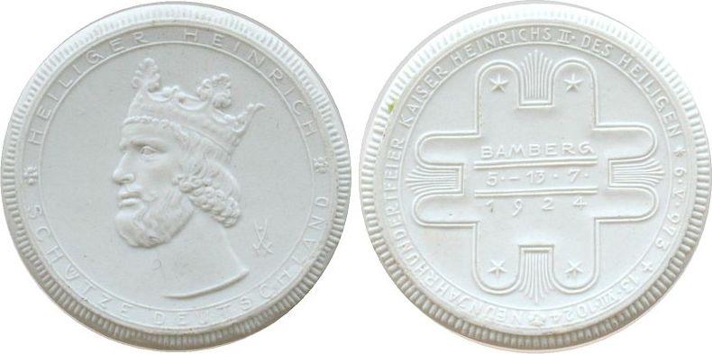 Medaille 1924 Porzellan Porzellan Bamberg, heiliger Heinrich schütze Deutschland - auf die 900 Jahrfeier, 60 MM stgl