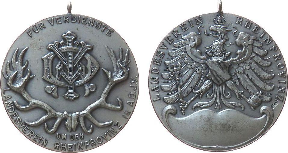 tragbare Verdienstmedaille o.J. vor 1914 Silber Landesverein Rheinprovinz im A.D.J.V. - für Verdienste, Allgemeinen Deutschen Jagdschutz-Vereins, Hirschgeweih / Wappenad vz