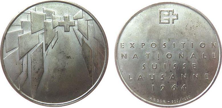 Medaille 1964 Schweiz Silber Lausanne - auf die Landesausstellung, ca. 33 MM, ca. 14,86 Gramm vz