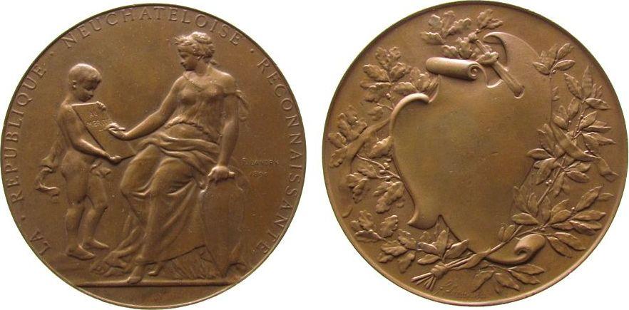 Verdienstmedaille 1890 Schweiz Bronze Neuenburg - Neufchatel, sitzende Frauengestalt mit Neuenburger Wappenschild beschreibt Tafel / leere Rocaille, v. Landry, vz