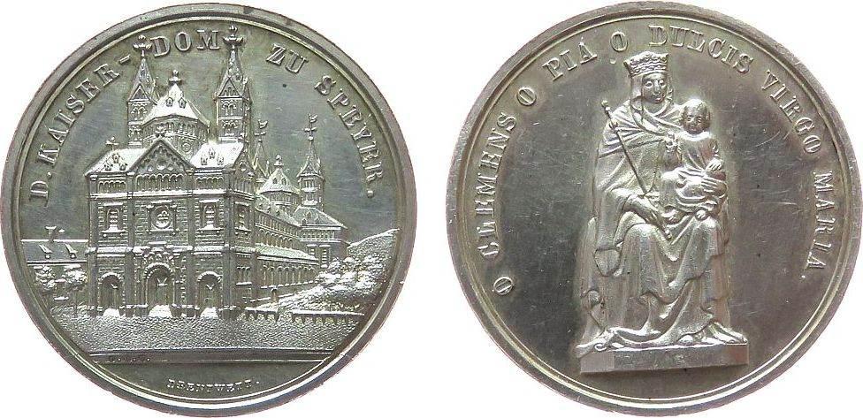 Medaille 1858 o.J. Speyer Silber Speyer - auf die Wiederherstellung des Kaiserdoms, Domgebäude / Marienstatue, v. Drentwett, ca. 32 MM, ca. 11,16 Gramm vz