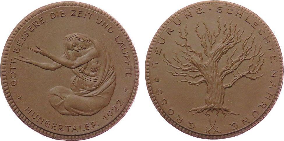 Medaille 1922 Porzellan Böttger Steinzeug Berlin - Not und Hungerjahr 1922, bettelnde Frau mit Kind / entlaubter Baum, braun, ca. 50,8 MM vz-stgl