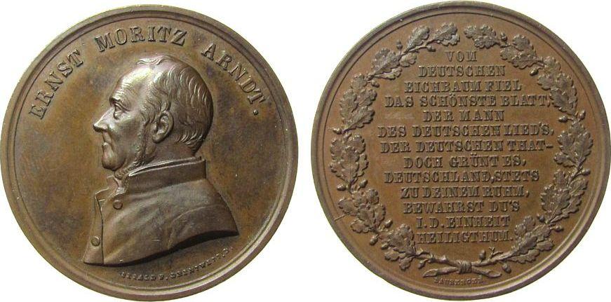 Medaille o.J. (1860) Personen Bronze Arndt Ernst Moritz (1769-1860) - auf seinen Tod, Brustbild nach links / Mehrzeiler, v. Sebald / Drentwett / Bauberger, ca vz