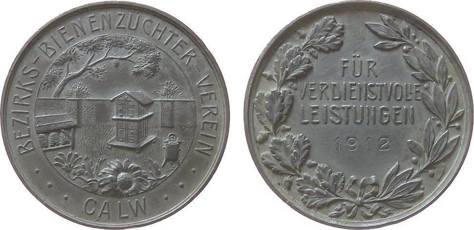 Medaille 1912 Tiere Weissmetall (?) Calw - Bezirks-Bienenzucht-Verein, für verdienstvolle Leistungen, Bienenkörbe und Honigschleuder / Mehrzeiler, c ss+