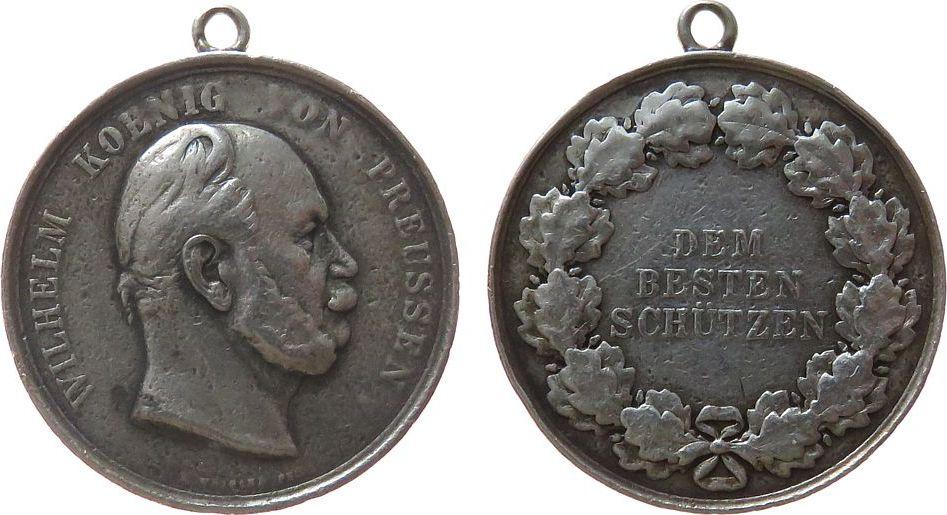 Medaille o.J. Schützen Silber Wilhelms I. - dem besten Schützen, Büste nach rechts / Mehrzeiler im Kranz, v. Weigant, ca. 40,2 MM, ca. 36.4 Gramm fast ss
