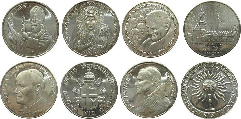 Medaille 1991 Vatikan Silber Johannes Paul II, auf seinen Besuch in Polen, ca. 35,5 MM, ca. 17.00 Gramm, 4 Stück im Original Etui stgl
