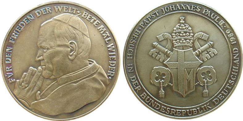 Medaille 1980 Vatikan -- Johannes Paul II (1978-2005), auf seinen Besuch der BRD, unsigniert, ca. 40 MM, mattiert vz-stgl