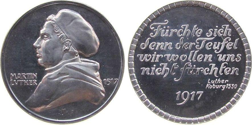 Medaille 1917 Reformation / Religion Eisen Luther Martin (1483 -1546) - auf die 400-Jahrfeier der Reformation in Dresden, Brustbild nach links / Mehrzeiler, v. Fritz fast stgl
