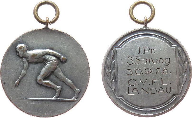 tragbare Medaille 1928 Sport Bronze versilbert Landau - 1. Preis 3-Sprung O.V.F.L, Sprinter / Gravur, ca. 33,5 MM ss