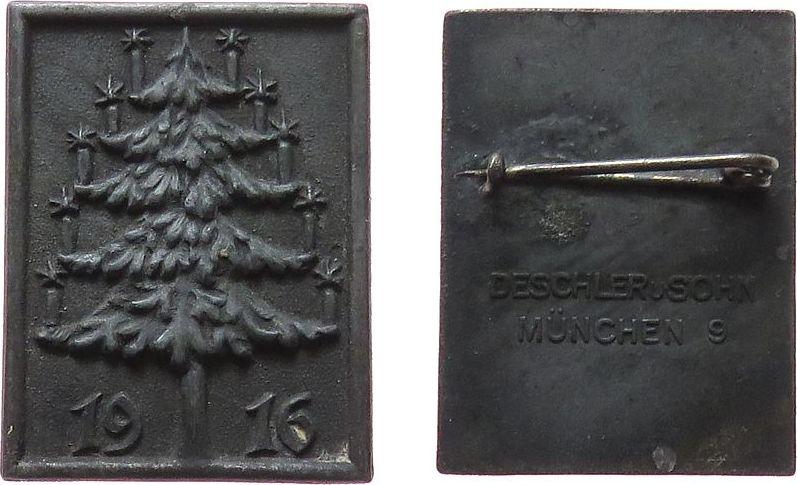 Abzeichen 1916 Weihnachtliche Motive Zink Weihnachten - Tannenbaum, v. Deschler u. Sohn, ca. 25 x 32,5 MM vz