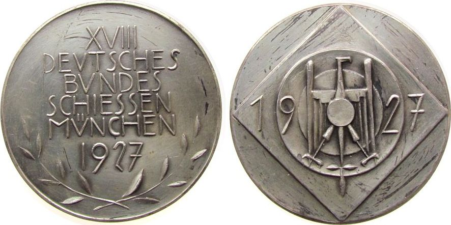 Medaille 1927 Schützen Silber München - 18. Deutsche Bundesschießen, Adler auf Scheibe / Mehrzeiler, ca. 40,4 MM, ca. 30,65 Gramm, Rand: CARL POELLATH vz