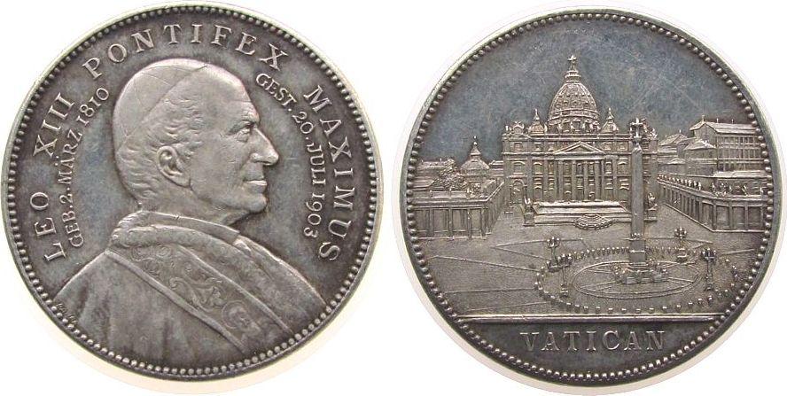 Medaille 1903 Vatikan Silber Leo XIII (1878-1903) - auf seinen Tod, Brustbild nach rechts / Petersplatz, v. Lauer, ca. 32 MM, ca. 18,06 Gramm ss-vz