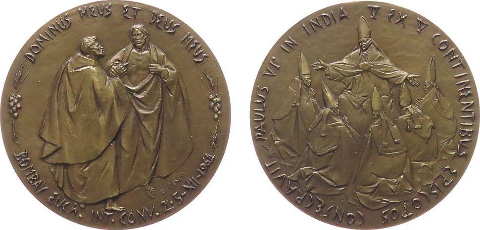 Medaille 1964 Vatikan Bronze Paul VI (1963-1978) - auf seine Indienreise, Christus zeigt Thomas die Wundmale / Paul mit 5 Bischöfen, v. E. Manfrini, c vz-stgl