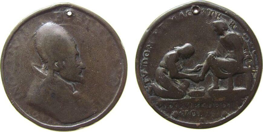 Medaille 1690 Vatikan Bronze Innozenz XI (1676-1689) - auf die Fußwaschung, Brustbild nach rechts / Fußwaschung, unsigniert, ca. 39 MM, gelocht sge