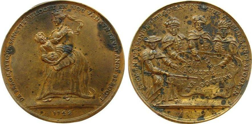 Spottmedaille 1742 Niederlande Messing Maria Theresia (1740-1780), auf die pragmatische Sanktion, MT mit dem Erzherzog auf dem Arm / vier Fürsten beugen sich ü vz