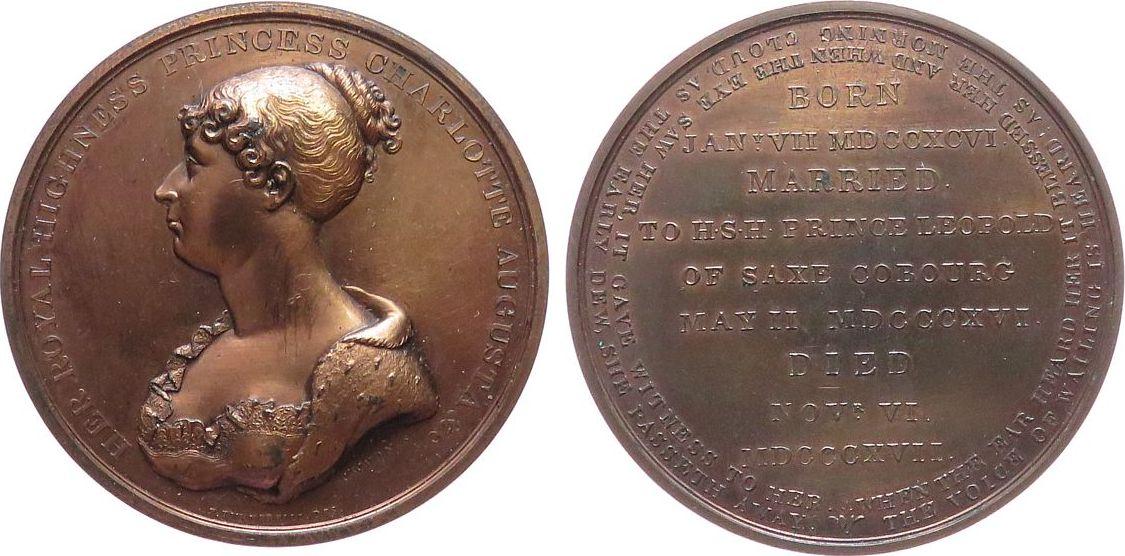 Medaille 1817 Großbritannien Bronze George III. (1760-1820) - auf den Tod seiner Enkelin und Thronfolgerin Charlotte Augusta, Brustbild nach links / Mehrzeil vz