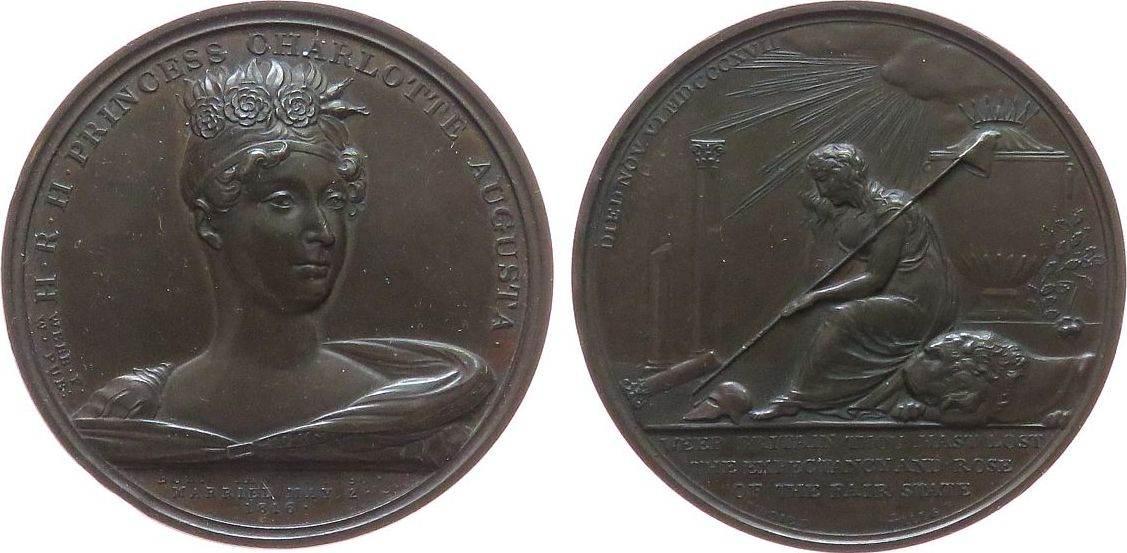 Medaille 1817 Großbritannien Bronze George III. (1760-1820) - auf den Tod seiner Enkelin und Thronfolgerin Charlotte Augusta, Brustbild von vorn / trauernde vz