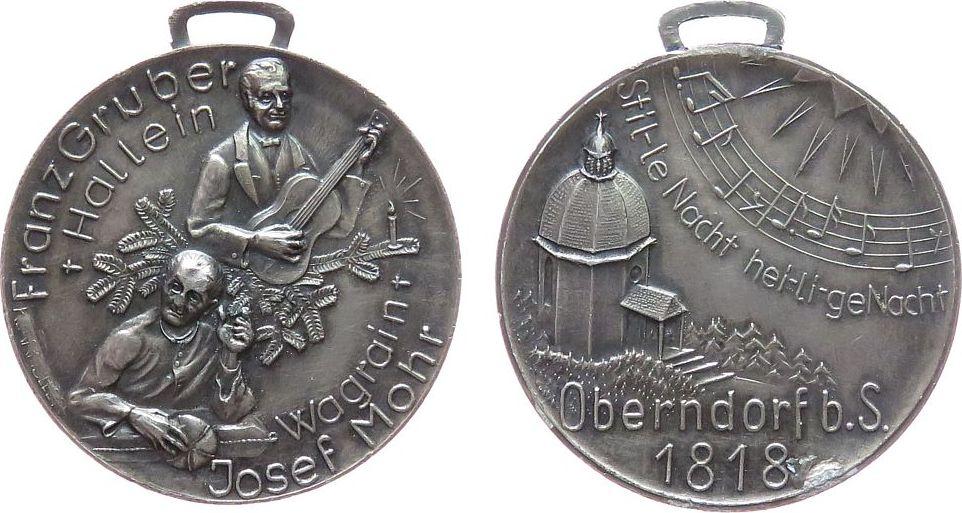 tragbare Medaille o.J. Musik Aluminium (?) versilbert Gruber Franz (1787-1863) - auf die Erstaufführung des Weihnachtsliedes