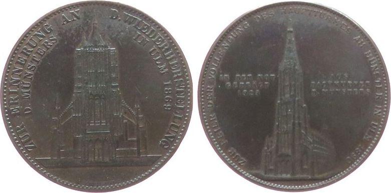 Medaille 1923 Ulm Bronze Ulm, zur Erinnerung an die Wiederherstellung des Hauptturms des Münsters zu Ulm, v. C. Schnitzspann, ca. 41,0 MM, dunkle ss