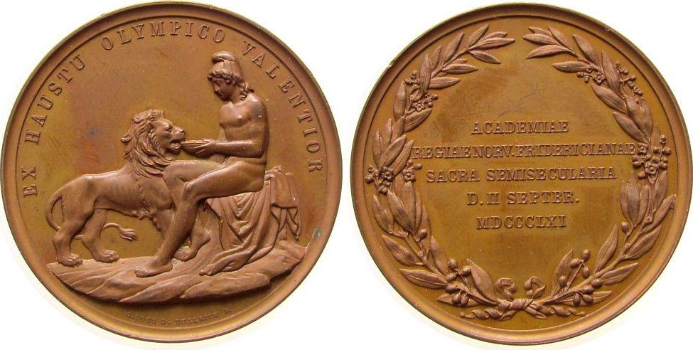 Medaille 1861 Norwegen Bronze Karl XV. (1859-1872) - auf das 50-jähriges Jubiläum der Friedrich-Akademie in Oslo, nackter Jüngling mit phrygischer Mütz stgl