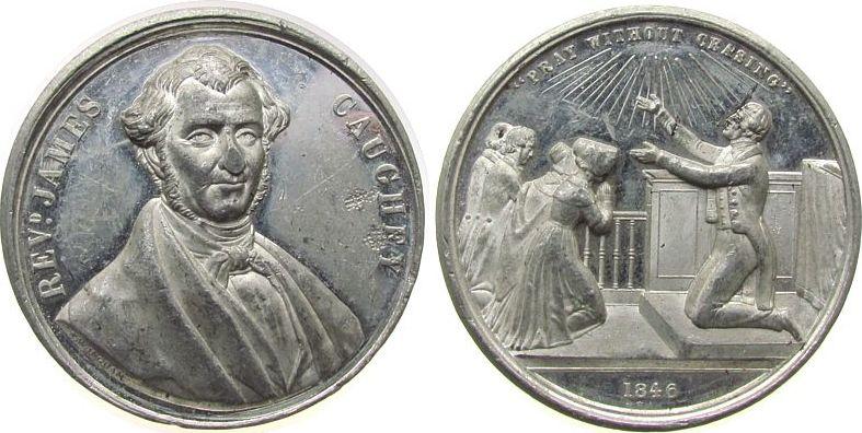 Medaille 1846 Kanada Zinn Wingram T. (1810-1891) - Methodist und Evangelist, Brustbild von vorn / Kirchenszene