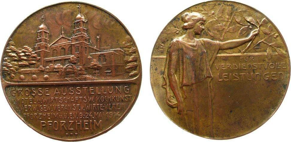 Medaille 1914 Städte verkupfert Pforzheim - Grosse Ausstellung, vom Wirteverein Pforzheim e.V., Ausstellungsgebäude / weibliche Gestalt hält Zweig - vz