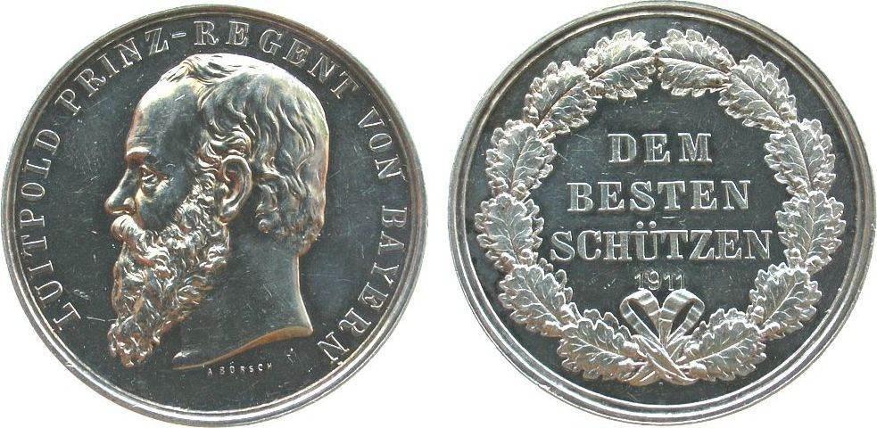 Schießprämie 1911 Schützen Silber Luitpold (1886-1912), Bayern, dem besten Schützen, 1911 (Punze), v. A. Börsch, ca. 42,5 MM, ca. 40.13 Gramm vz