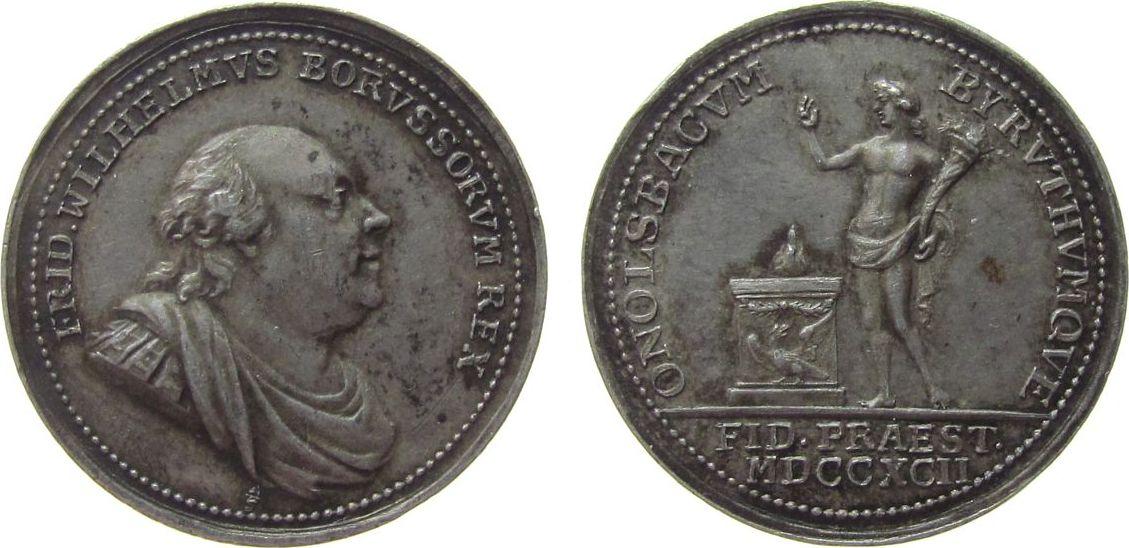 Medaille 1792 vor 1914 Silber Friedrich Wilhelm II. (1786-1797) - auf die Huldigung Ansbach-Bayreuths, Brustbild nach rechts / Genius mit erhobener Rec fast vz