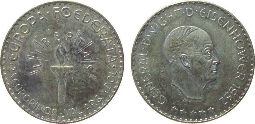 2 ½ Europinos 1952 Europa Silber Eisenhower General Dwight D., Büste nach rechts / Fackel, v. H. Consee, geprägt in Hamburg (HM), 30 MM, ca. 12.53 Gramm vz