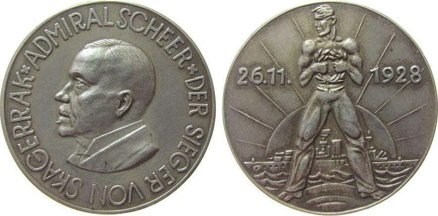 Medaille 1928 Weimarer Republik Silber Scheer Reinhard Admiral (1863-1928), dem Sieger in der Schlacht am Skagerrak, Büste nach links / Matrose mit Lorbeerkranz vz