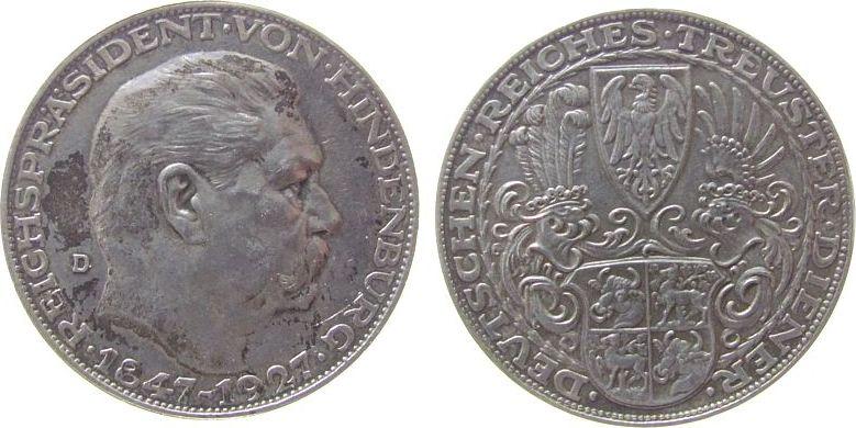 Medaille 1927 Hindenburg Silber Paul von Hindenburg, auf seinen 80. Geburtstag, v.Karl Goetz, ca. 36 MM, ca. 24,80 Gramm, Patina vz