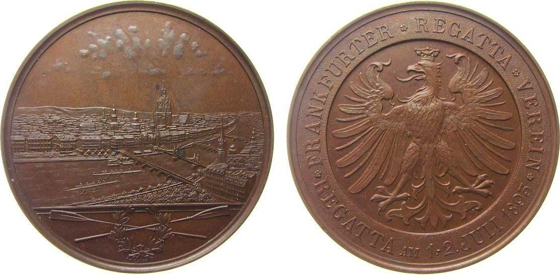 Medaille 1893 Frankfurt Bronze Frankfurt - Prämie des Frankfurter Regatta-Vereins, Stadtansicht mit vier Brücken über gekreuzten Paddeln / Adler, v. Lau vz
