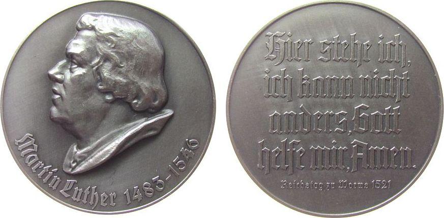 Medaille o.J. Reformation / Religion -- Luther Martin (1483-1546), Büste nach links / Text: Hier stehe ich, ich kann nicht anders, Gott helfe mir, Amen, ca. 40 MM, c vz-stgl